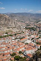 view with the tombs of the kings and the citadel, amasya, anatolia, turkey, asia