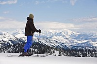 Man taking in vast view of mountains on skis.