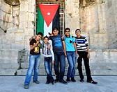 Amman, Jordan  Group portrait of local boys at the Roman Theatre
