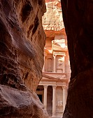 View of the Treasury Al Khazneh from the Siq canyon  Petra, Jordan