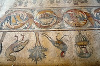 Madaba, Jordan  The mosaics inside the Church of the Apostles created in AD 568  They shows Thalassa, a female personification of the sea, surrounded ...