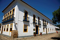 The exterior of Pousada do Sando luxury hotel, a typical colonial house in the historic part of Parati, Rio de Janeiro State, Brazil, South America