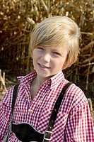 Germany, Bavaria, Boy in cornfield