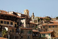 Residential buildings against a blue sky, ventimiglia italy