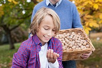 Germany, Leipzig, Father and son collecting walnuts