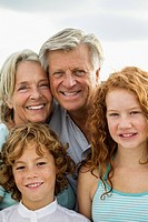 Spain, Portrait of grandparents and grandchildren, smiling