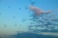 Bubbles floating in air