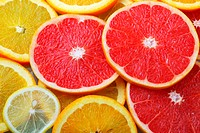 Slices of grapefruit and oranges