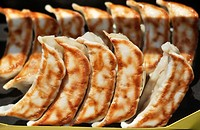 Ofuna, Kanagawa, Japan, fake gyoza dumplings at a restaurant window