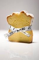 Slice of pound cake with measuring tape around it