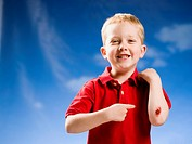 Boy with scraped elbow