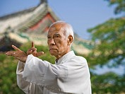 Man doing Kung Fu outdoors
