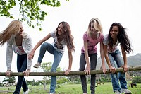 Group of friends climbing over wooden fence