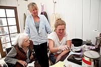 3 generations of women in dyeing studio