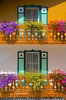 Balconies and flowers, Pozza di Fassa, Fassa Valley, Trento Province, Trentino_Alto Adige/South Tyrol, Italian Dolomites, Italy, Europe