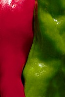 red&green peppers close up