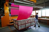 A factory and research laboratory where fabric is researched, produced and manufactured