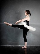 ballerina against a blackboard