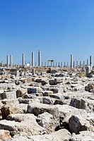 Ruins and the avenue of columns in the Agora, marketplace in the excavation site in the ancient city of Perge, Aksu, Turkish Riviera, Antalya, Turkey,...