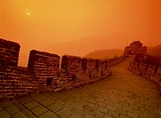 High angle view of the Great Wall of China at dusk,China