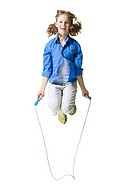 Portrait of a girl jumping rope