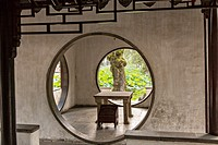Round doorways in the Secluded Pavilion of Firmiana Humble Administrator´s garden in Suzhou, China