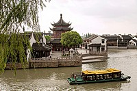 A tourist barge along the grand canal in the Shantang area in Suzhou, China