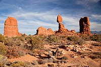 Balanced Rock at Arches National Park just outside of Moab, Utah, United States of America, USA