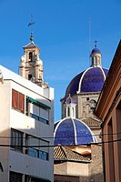 Blue cupolas, San Pedro church, Sueca city, Valencia province, Spain