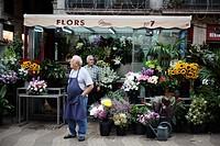 Flourist selling flowers at la Rambla, Catalonia, Spain