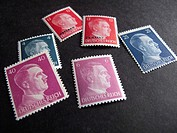 Historic postage stamps with Adolf Hitler´s face