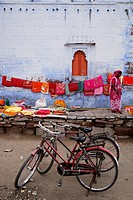 Woman selling saris outside Sadar Market. Jodhpur, India