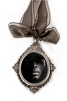 Cameo silver locket with african male portrait