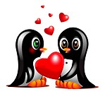 couple sweet penguins