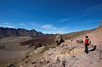Woman hiking in Parque Nacional del Teide, Tenerife, Canary Islands, Spain, Europe