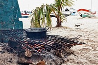 Cook fire on beach, Isla Mujeres, Yucatan Peninsula, Quintana Roo, Mexico