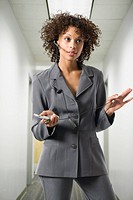 Close_up of a businesswoman talking on the phone