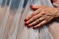 Hand resting on a bride