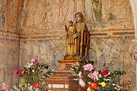 Madonna Notre Dame la Brune, The Brown Madonna, made of cedar in the early 12th century, Abbey Church of St. Philibert, Burgundy region, department of...