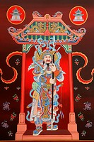 Tradition Chinese painting on door in Chinese temple