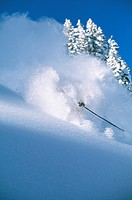 Downhill skier skiing on mountain