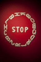 A STOP sign arranged in Russian bread cookies (thumbnail)