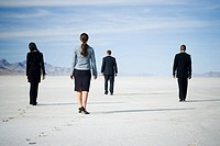 Rear view of two businessmen and two businesswomen walking together
