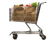 Shopping cart with two bags of groceries