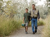 Father and son going fishing.