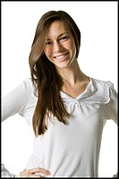 young woman with a white shirt, smiling.