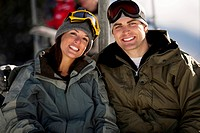 A couple on a chairlift