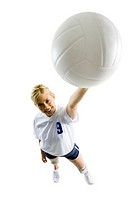Volleyball player with ball making hand gesture
