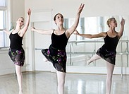 Springville, Utah, USA, Three young ballet dancers 14_15, 18_19 practicing ballet dance