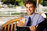 Businessman on park bench
